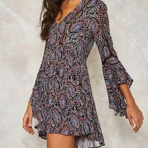 Nasty Gal paisley Don't Stop dress, size 4